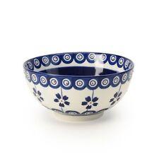 Signature Housewares Set of 4 Bowls, Blue Pottery Design, White