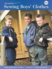 Sewing boys clothes 4 patterns jumper pants hoodie t-shirt sizes 3-7 great value