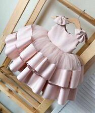 Flower Girl Dress Birthday Party Frock Kid Children Puffy Dusty Pink Full Dress