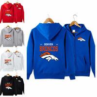Denver Broncos Sports Hoodies Zip-up Sweatshirt Hooded Coat Jacket Fan's Gift
