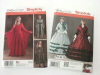 2 Costume Sewing Patterns Simplicity 1045 Medieval Gown 1818 Victorian Civil War