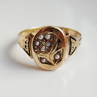 Antique Victorian 15ct Gold & Enamel Pearl set Mourning Ring c1873; UK Size 'O'