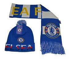 Chelsea FC Beanie W/ Pom and Scarf Reversible Winter Cap Hat  New Season