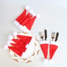 10x Christmas Hat Cutlery Holder Fork Spoon Pocket Christmas Decoration Bag New