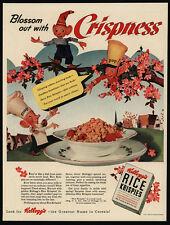 1942 KELLOGGS RICE KRISPIES Art - Snap - Crackle - Pop Cartoon - VINTAGE AD