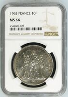 1965 France 10 Francs Silver NGC MS66 10F