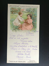 Ancien menu Gala Peter Kholer 1906 Chocolat