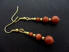Gold Plated Dangly Earrings. New. A Pair Of Brown Goldstone