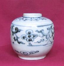 """HOI AN 15th/16th BLUE AND WHITE FLOWER MOTIF JAR---dia. 4""""--(1)"""