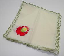 VTG Set of 6 Retro 50s -60s Embroidered Cloth Napkins Scalloped Ivory Red