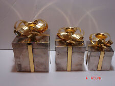 SET OF 3 GODINGER TWO TONE GOLD & SILVERPLATE PRESENT BOX CANDLE HOLDER
