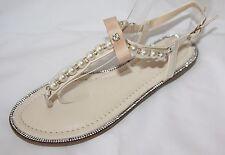 Tiras Sandalias - Zapatos de Novia con Perlas Beige LC-136