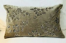 NWT Pottery Barn Augustine Brown Velvet Lumbar Pillow Cover Embellished 16x26