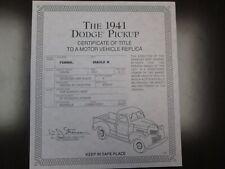 Danbury Mint Paperwork 1941 Dodge Pickup