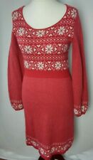 Fat Face size 14 knitted dress fair isle festive red white knee length stretch G