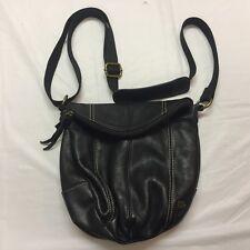 The SAK Shoulder Bag Purse Black Leather Pebble Texture Medium Size