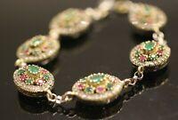 Turkish Handmade Sterling Silver 925 Ruby Emerald Bracelet