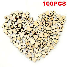 100pcs Love Heart Rustic Wood Wooden Wedding Table Scatter Decoration Crafts DIY
