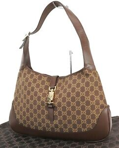 Auth GUCCI Jackie O Brown Canvas and Leather Tote Shoulder Bag Purse #39049