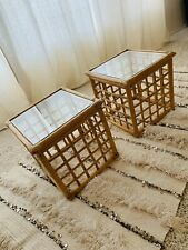Vintage Modern Pair of Rattan Bamboo Boho Side Tables or End Tables w/ Glass Top