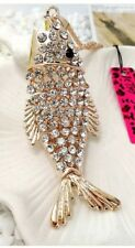 Betsey Johnson Necklace Carp FISH WITH CRYSTALS AND GOLD   WORLD PEACE