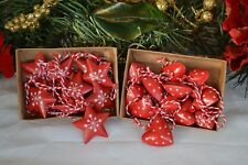Christmas Decorations hanging 12 Metal Hearts or Stars Red Vintage Style