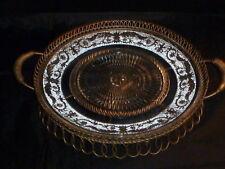 Superb Rare Vintage Duncan Sandwich Pattern Pressed Glass Platter & Basket.