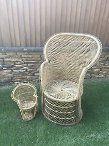 RETRO VTG 70'S WICKER PEACOCK RATTAN CHAIR BOHO FAN BACK Plus a Plant Chair