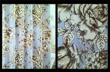 Laura Ashley BANCROFT Blue Floral Rose Sunflower Sketch Cotton Shower Curtain