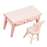 Puppenmöbel, Holz Student Schreibtisch + Stuhl Satz für 1: 12 Puppenhaus