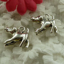 free ship 34 pieces Antique silver dog charms 17x16mm #2947
