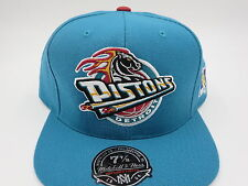 Detroit Pistons Blue Throwback NBA Mitchell & Ness Hi Crown Fitted Hat Cap 7 3/4