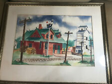 "Large Helen Estue? 1954 ""Street Scene"" Watercolor Painting - Signed And Framed"