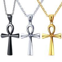 Damen Herren Edelstahl Ankerkette mit Anch Kreuz Anhänger silber/ gold/schwarz