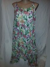 Pleated lined Pink tropical pleat Flowing evening party dress size 18 NEW