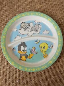 Vtg baby Bugs Bunny Daffy duck & Tweety ZAK DESIGNS DIVIDED CHILD MELANINE PLATE