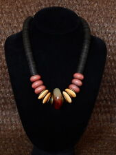 Hand-Made Antique Bead Necklace w Blood Jade,Naga and bone Beads