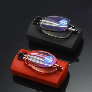 Folding Boxed Anti-blue Reading Glasses Telescopic Temple Antenna Glasses