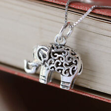 Sterling Silver 3D Lucky Elephant Necklace Pendant Spiritual Jewellery