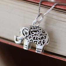 Plata esterlina 3D Collar Colgante elefante suerte joyas espiritual