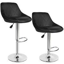 2 Tabourets de bar chaise fauteuil bistrot réglable pivotant siège design noir