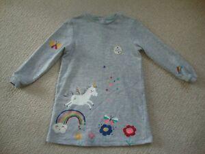 M&S girl's grey sweatshirt dress age 4-5 - unicorns, rainbows
