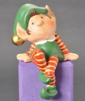 "1981 Care Elf Santa's Helper Ceramic Shelf Sitter 9 1/2"" Christmas Figurine"