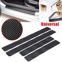 4Pc Black Car Door Plate Stickers Carbon Fiber Look Car Sticker Sill Scuff Cover