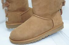New Ugg Ausrtalia Bailey Bow Boots Size 6 Ankle Brown Sheepskin Shoes