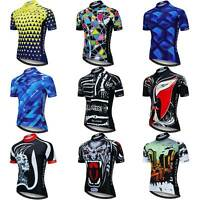 Men's Short Sleeve Biking Jersey Cycling Shirt Top with Reflective Zip Pocket