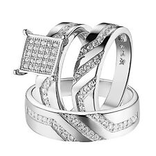 Trio Wedding Engagement Ring Set For Men Women Sterling Silver 925 Rhodium Tone