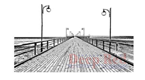 Deep Red Rubber Cling Stamp Boardwalk Ocean Nautical Scenic View