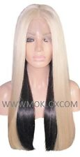 Remy Human Hair Wig Full Lace 24 Long Straight Black 1 Blonde 60 Silk Top Moklox