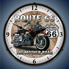 New biker Route 66 The Mother Road motorcycle LIGHT UP clock  Free Fast Shipping